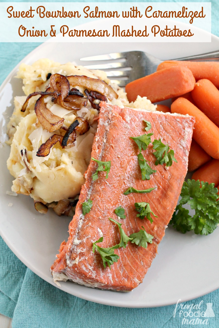 This Flavorful & Easy To Make Sweet Bourbon Salmon With Caramelized Onion &  Parmesan Mashed Potatoes