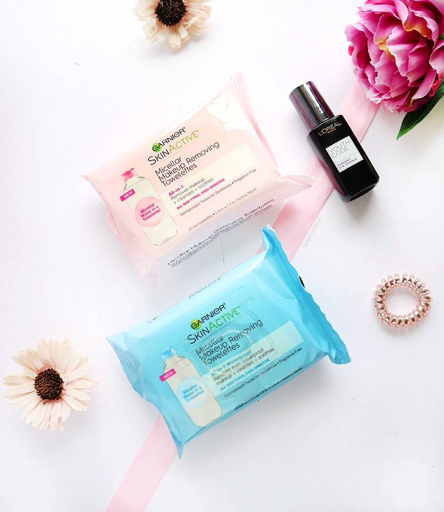 Garner Micellar Makeup Removing Towelettes and Loreal ferment eye essence review
