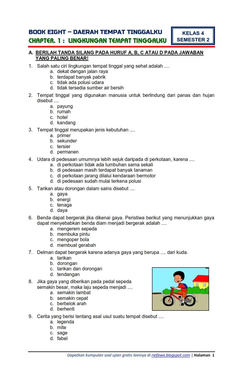 Download Soal Tematik Kelas 4 Tema 8 Daerah Tempat ...