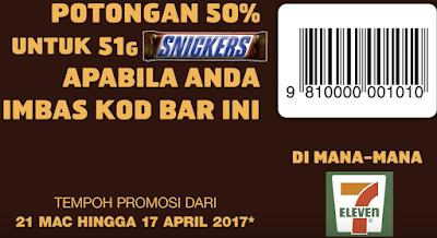 7 Eleven Snickers Malaysia Half Price Discount Promo