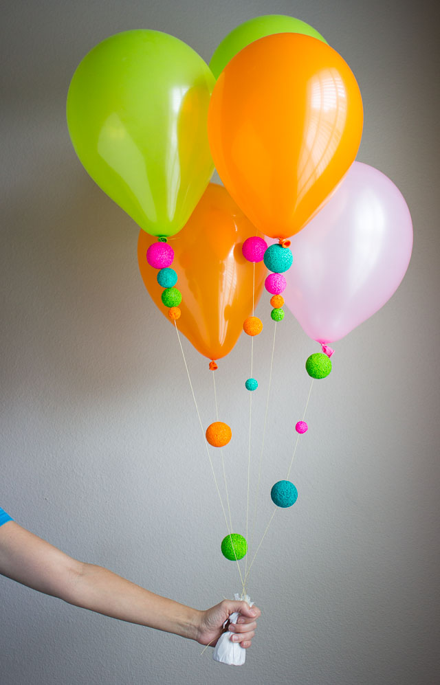 String balloons with colorful foam balls!