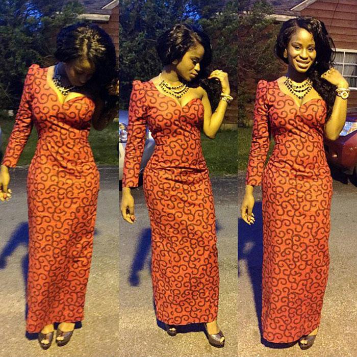 long sleeve ankara gown