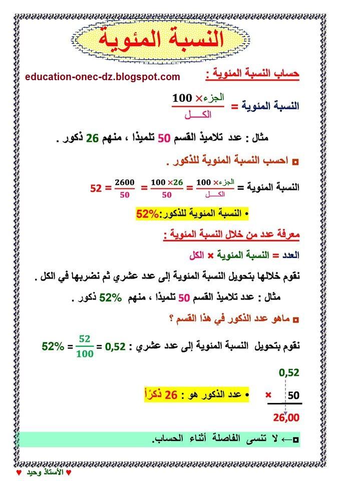 درس النسبة المئوية في الرياضيات للسنة الخامسة المكيفة مع الجيل الثاني