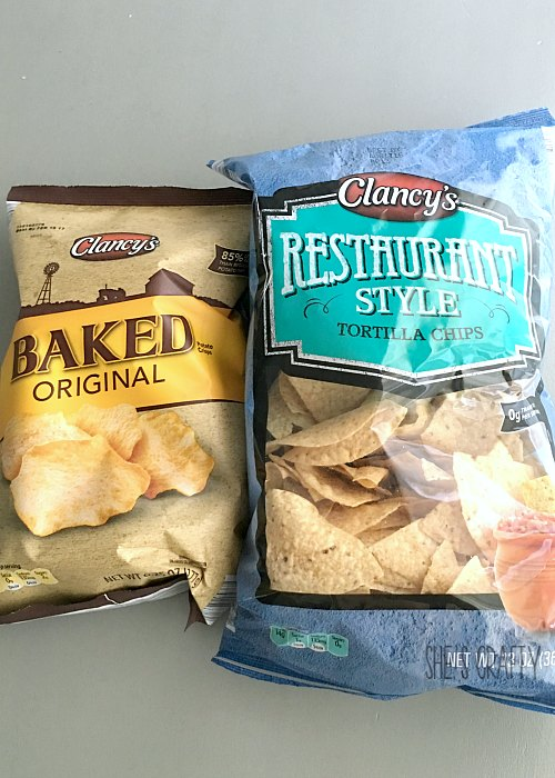tortilla chips, baked potato chips, clancy's chips