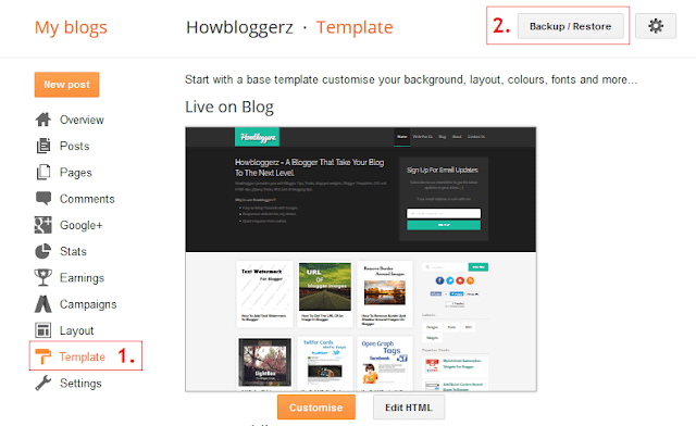 backup restore blogger template
