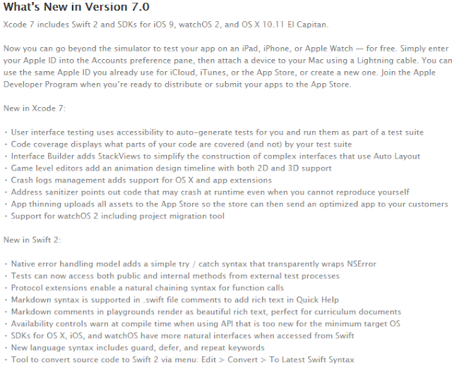 Xcode 7.0 Software (7A220) Final Version Features and Changelog