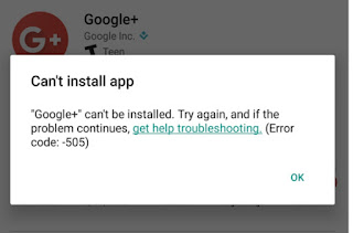 screenshot- (Error code: -505) while installing Google+ in Google Play