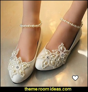 Women's Mary Jane Flats Pearls Across The Top Beach Wedding Shoes