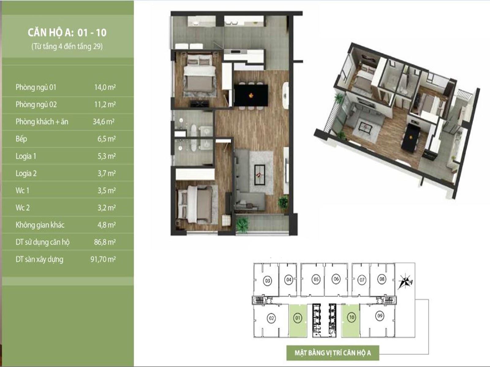 Thiết kế căn hộ số 01 - chung cư Taseco Complex Ngoại Giao Đoàn