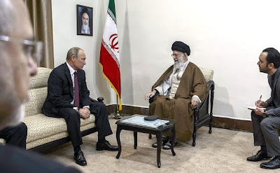 Vladimir Putin with Ayatollah Ali Khamenei. During his visit to Iran.