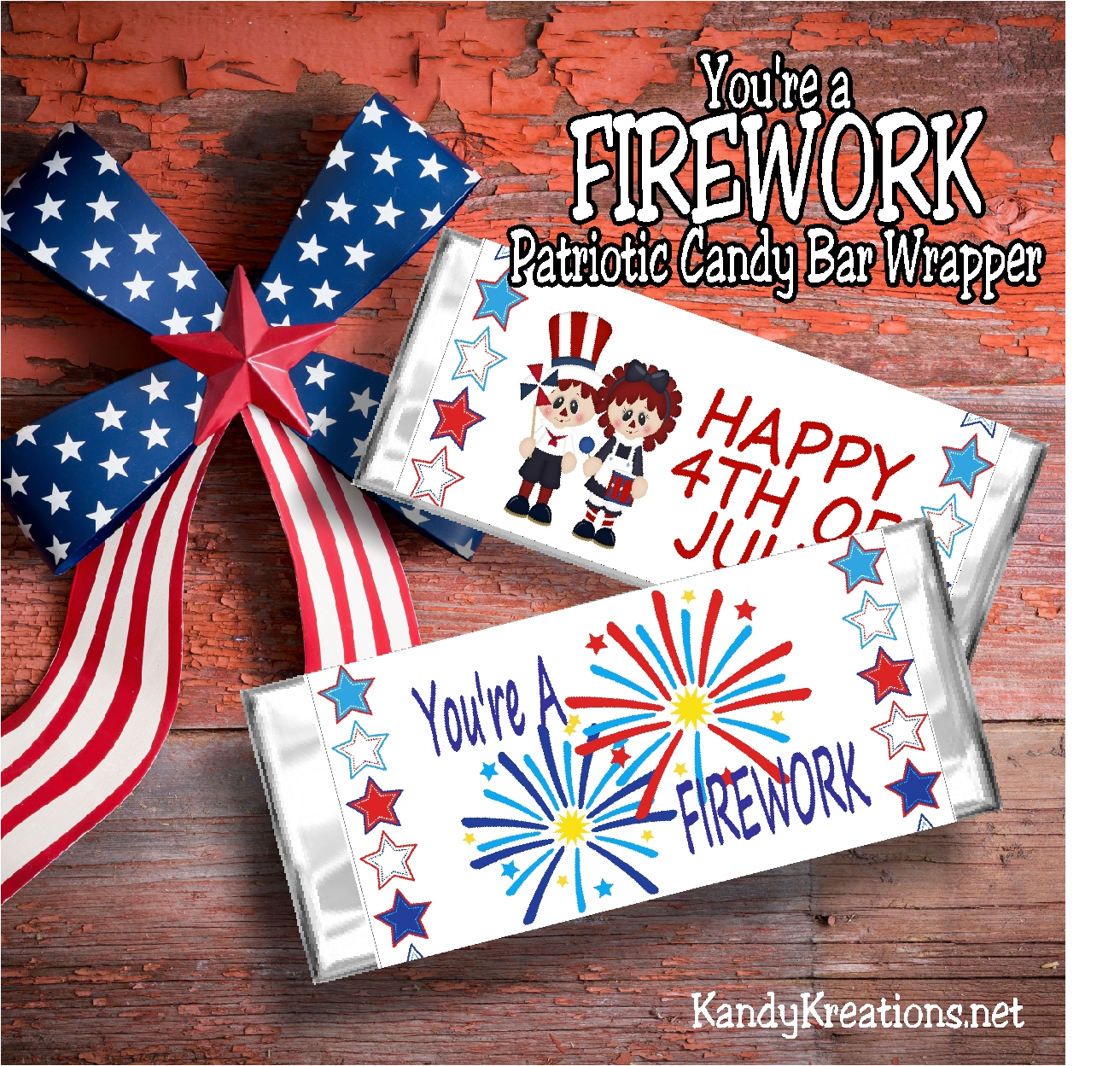 Firework 4th Of July Candy Bar Wrapper Printable