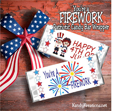 Wow! You can dress up your candy bars this 4th of July with a fun, and beautiful, free printable.  This patriotic candy bar wrapper features fireworks and cute raggedy kids wishing you a Happy 4th of July.  Such an easy way to rock your 4th of July party this year.