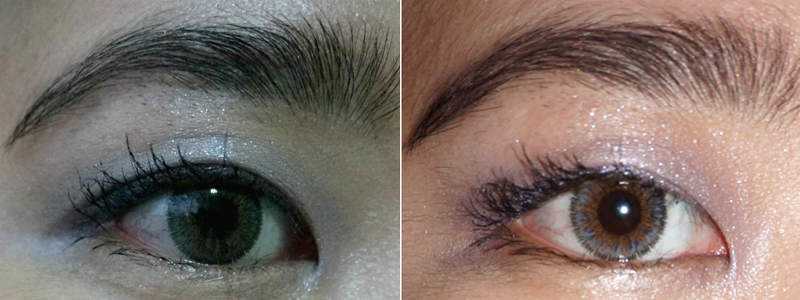 Shiseido Shimmering Cream Eye Color in Lavande (L) No Flash, (R) With Flash