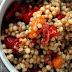Couscous israélien tomates tricolore rôties et basilic
