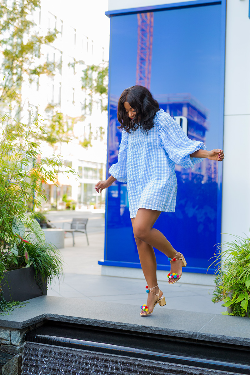 last summer days, sister jane gingham dress, aquazzura pom pom, www.jadore-fashion.com