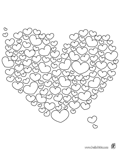 Hearts With Wings Coloring Page Image