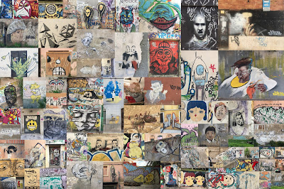 Variation of a mosaic collage of 76 street art photos taken in Cagliari, Sardinia.