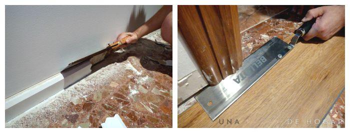 Retirada del rodapié y rebaje de los marcos de las puertas para instalar suelo vinílico con sistema click