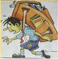 Ilustrasi beban tas punggung bagi anak