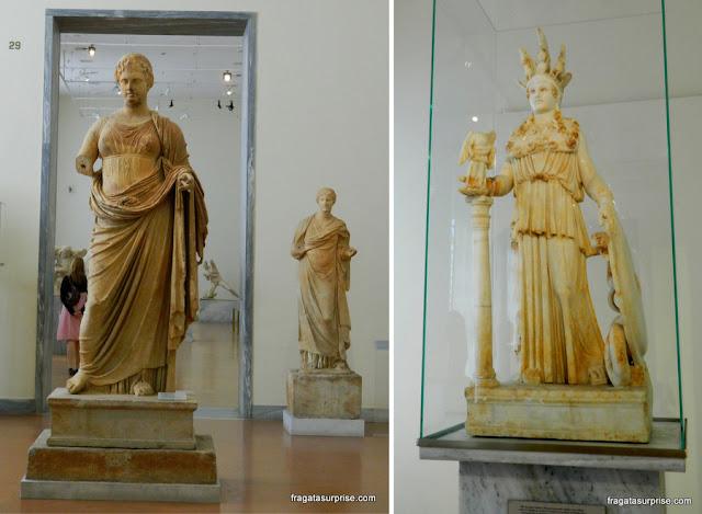 Estátuas de deusas gregas, Museu Nacional de Arqueologia de Atenas, Grécia