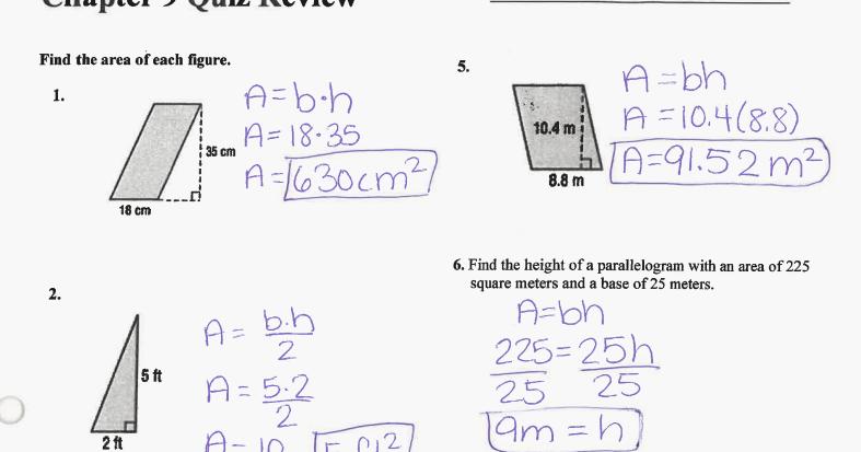 Grade 6 Math with Ms. Eringis : Answer Key Ch 9 Quiz ...