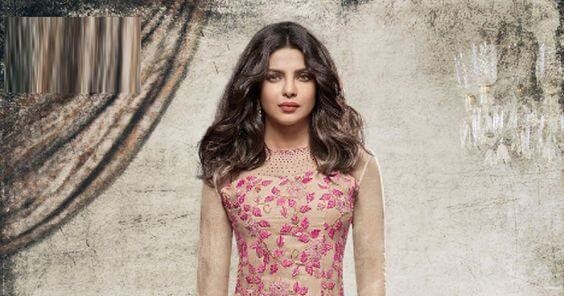 Priyanka Chopra In Grey Pink Georgette Suit  Desi Masala