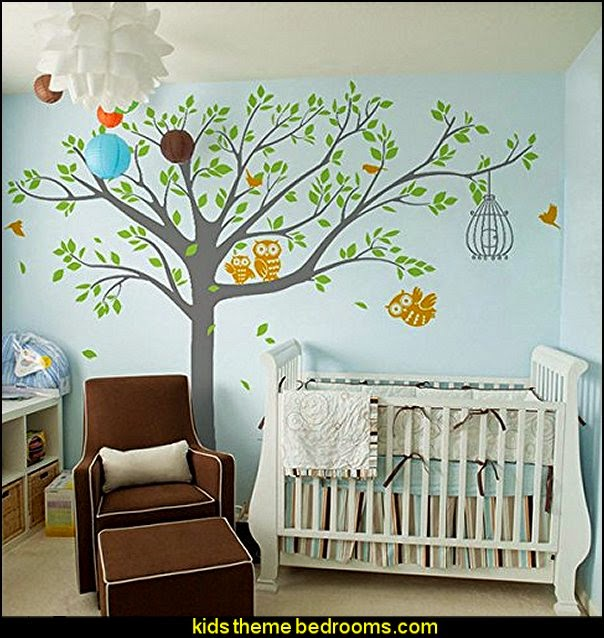 Decorating theme bedrooms maries manor owl theme for Baby mural ideas