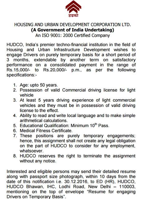 hudco.org Recruitment