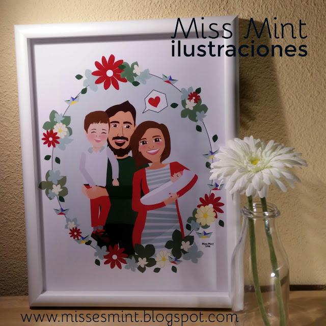 ilustraciones personalizadas retratos de familia Miss Mint