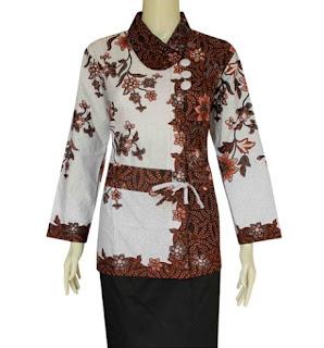 Model baju batik atasan untuk kerja lengan panjang