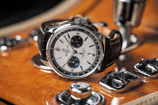 Breitling Premier B01 Chronograph 42 - White Dial, Black Crocodile Strap, Stainless Steel