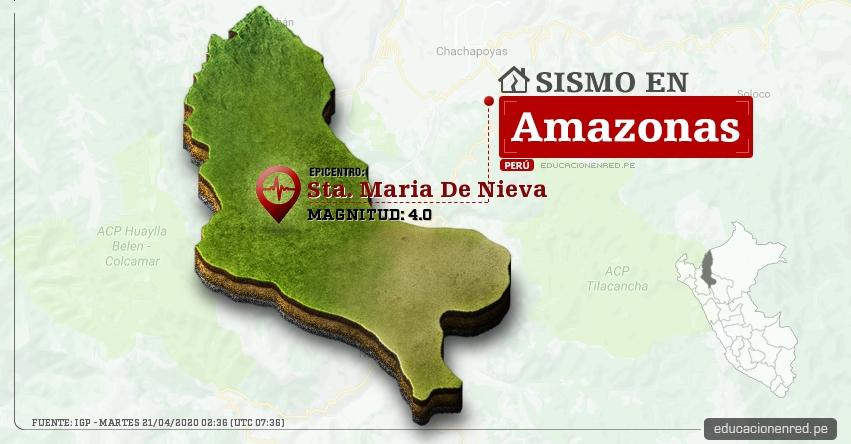 Temblor en Amazonas de Magnitud 4.0 (Hoy Martes 21 Abril 2020) Sismo - Epicentro - Sta. Maria De Nieva - Condorcanqui - IGP - www.igp.gob.pe