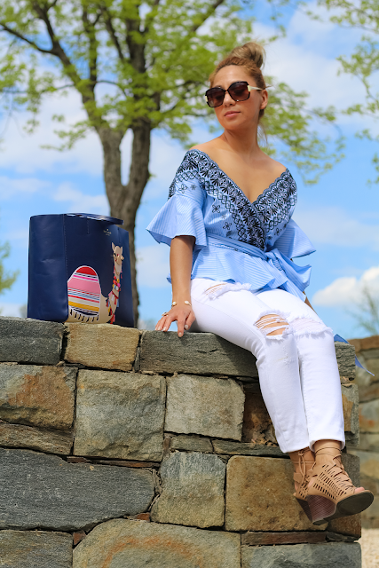 Blue Bell sleeves off the shoulder top