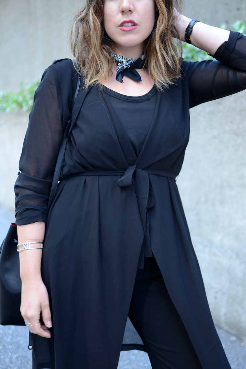 Le Chateau chiffon throwover trench wide leg crop trousers Vancouver fashion blogger covet and acquire aleesha harris