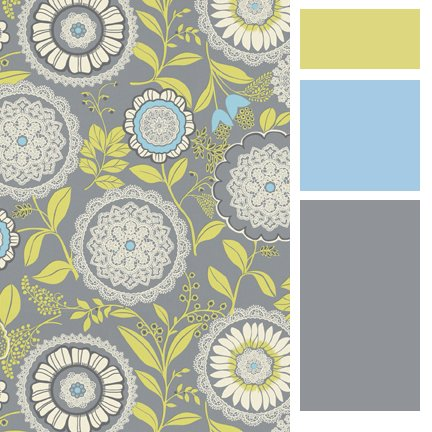 She Always Uses Really Fresh Color Combinations I Love How The Stormy Grey And Blue Is Punched Up Bright Yellow Green