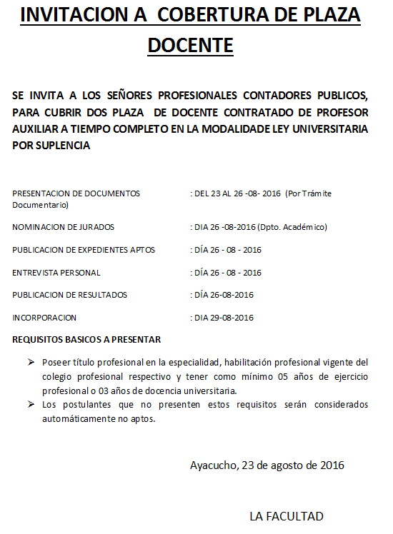 Quehacer universitario faceac unsch convocatoria 5 for Plazas de docentes 2016