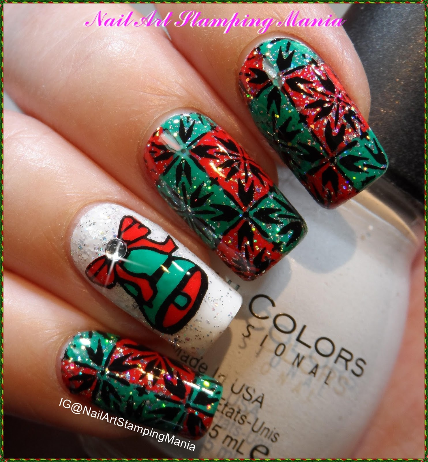 Nail art stamping mania christmas bell manicure with cicisisi christmas bell manicure with cicisisi happy new year 03 plate tutorial prinsesfo Image collections