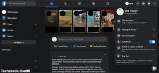 Tampilan User Interface Dark Mode Facebook Versi Desktop Browser