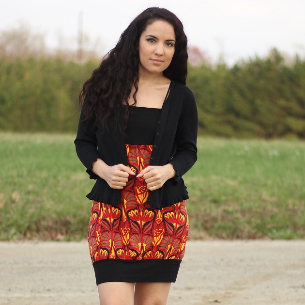 Red and Black Print Dress