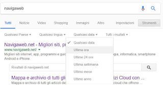 cercare su google per data