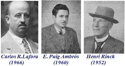 Los compositores de ajedrez Carlos R. Lafora (1966),  E. Puig Ambrós (1960) y Henri Rinck (1952)