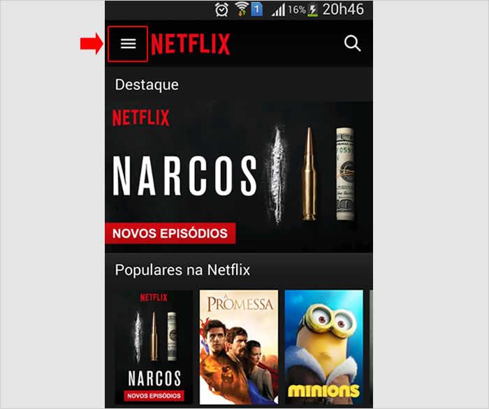 Acessando o aplicativo para Android da Netflix para desativar notificações