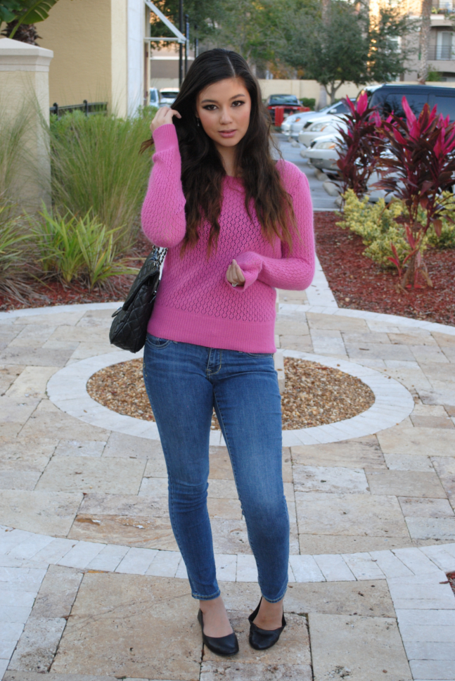 Queen's Wardrobe, Pink Knit Sweater, Knit, Knit Sweater, Back Bow, Arafeel, Quilted Bag, Bow Sweater