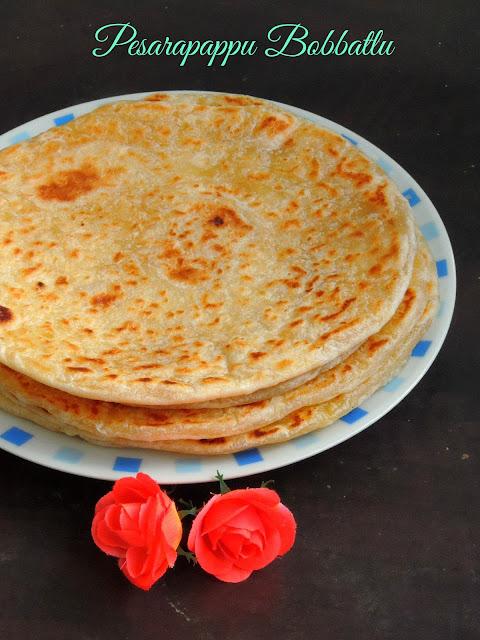 Pesarapappu Bobbatlu, sweet moongdal flatbread