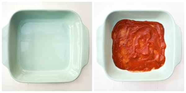 how to make spinach and corn lasagne - step 1 (layer of tomato sauce in the bottom of a pale blue square casserole dish)