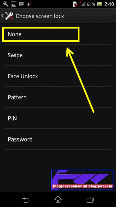 cara menonaktifkan pola pengunci layar untuk semua hp android
