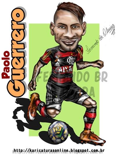Caricatura Paolo Guerrero 2016,Jogador Atualmente do Clube Brasileiro Flamengo
