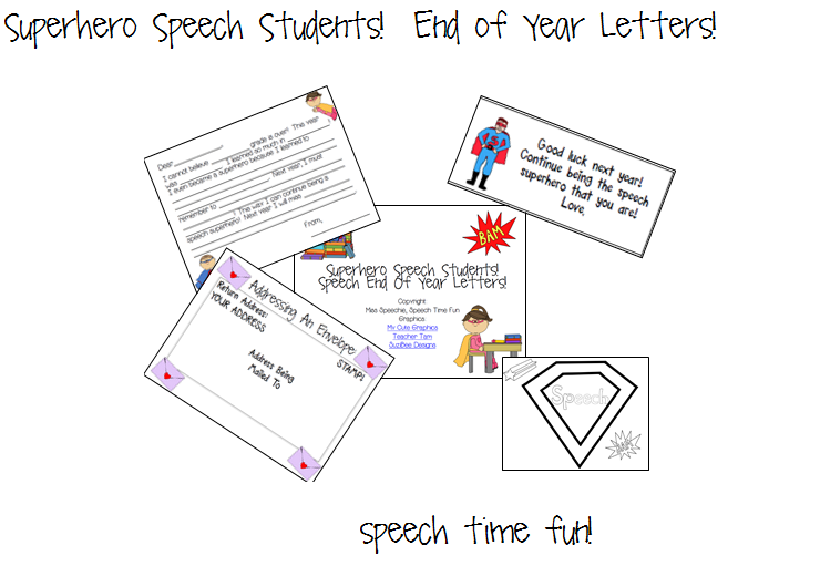 Superhero Speech Students! Student End of Year Letters