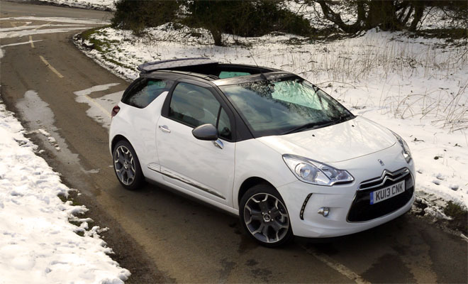 Citroen DS3 Cabrio front view roof open