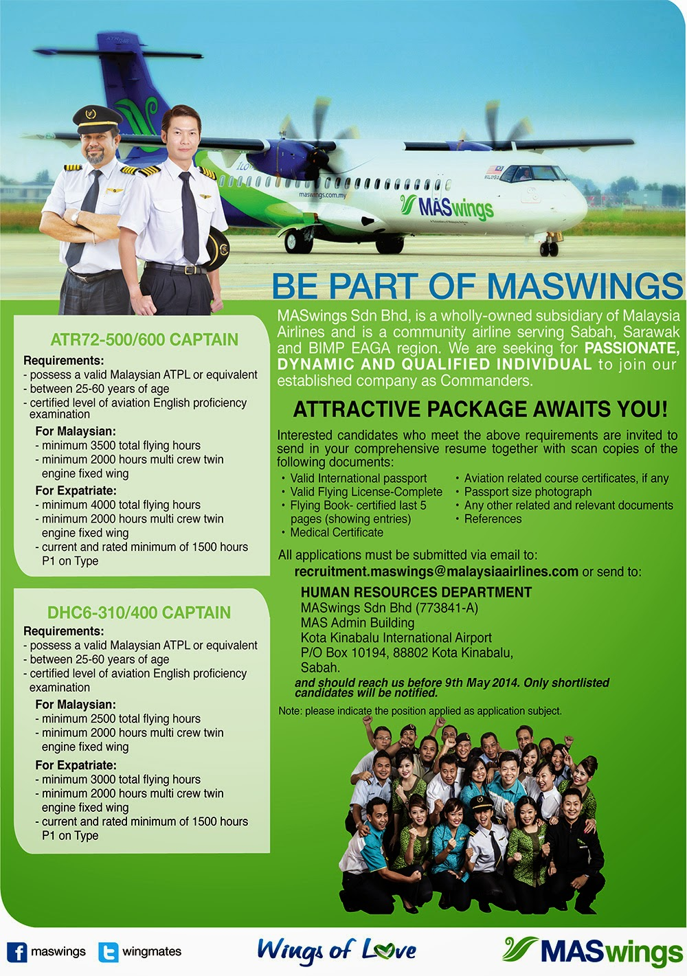Fly Gosh Maswings Pilot Recruitment Atr Twin Otter Wing Garuda